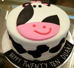 Cow Smiley Face Cake