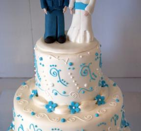 Standing Groom and Bride Cake