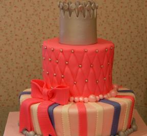 Silver Crown on Pink Cake
