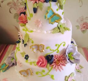 wedding mix flowers cake