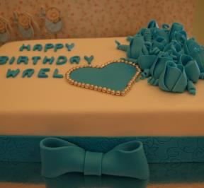 Blue Heart and Flowers Cake