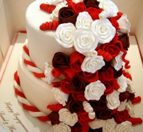 Cake of Red Flowers Fall (2-tier)
