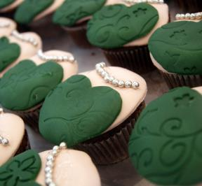 Green Elegant Dress Cupcakes