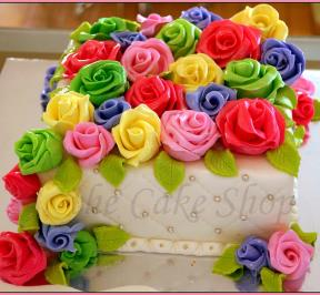 Colorful Flowers Birthday Cake