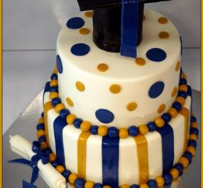 Graduation Cake Dots Theme