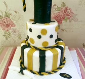 Graduation Cake (2-tier, Gold and Black Theme)