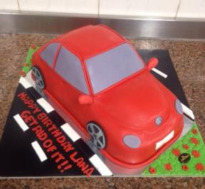 Volkswagen Beetle Red Theme Cake