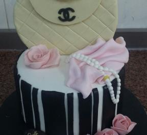 White Chanel Bag Flowers Cake