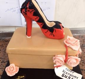 Red and Black High Heels Cake