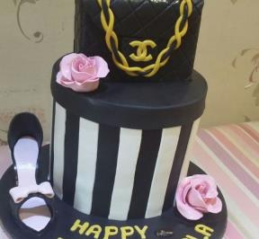 Black Chanel Purse Birthday Cake