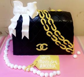 Black and Gold Chanel Bag Cake