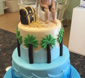 Beach Birthday 2 Tier Cake