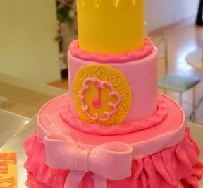 Pinkish Cake With a Crown 2-tier