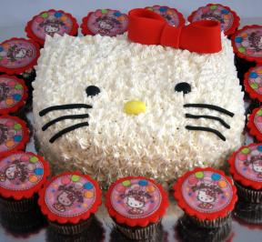 Hello Kittie Cake and Cupcakes Package