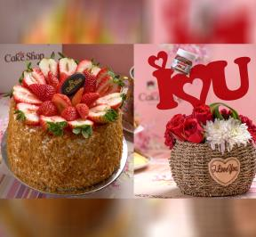 Strawberry Cake with Bouquet Flower