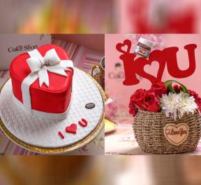 Red Heart  Cake with Bouquet Flower